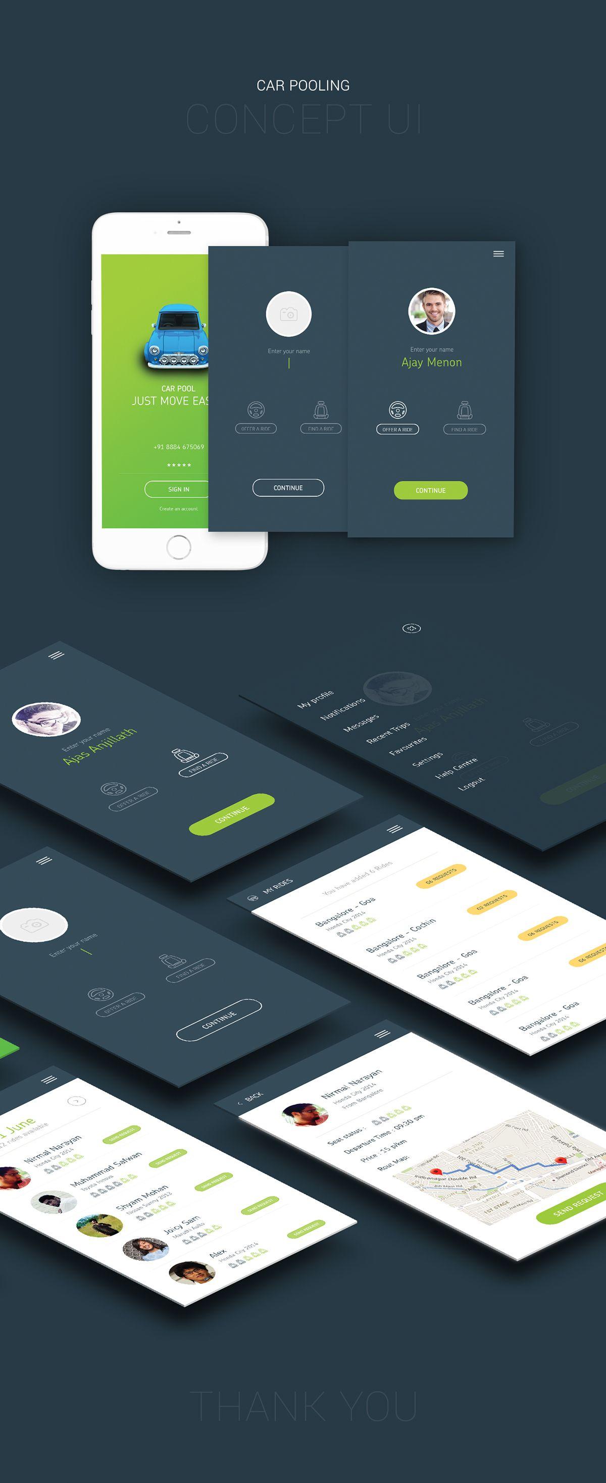 Car Pooling App Concept Ui On Behance 1 Ui App Covers Car