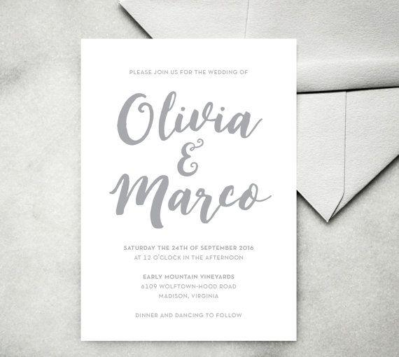 Printable calligraphy wedding invitation modern
