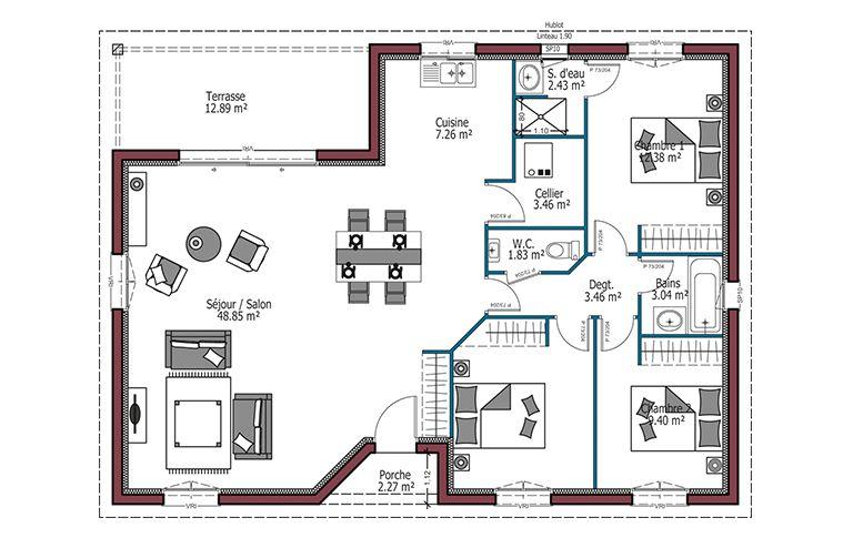 Modèle Eole -- Maison à toit plat avec terrasse -- Plan maison 3 - plan maison avec appartement
