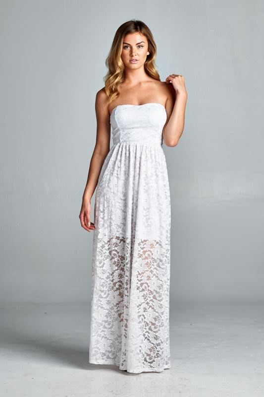 aca2bb12d579 Karina White Lace Overlay Maxi Dress | Maxed Out | Strapless lace ...