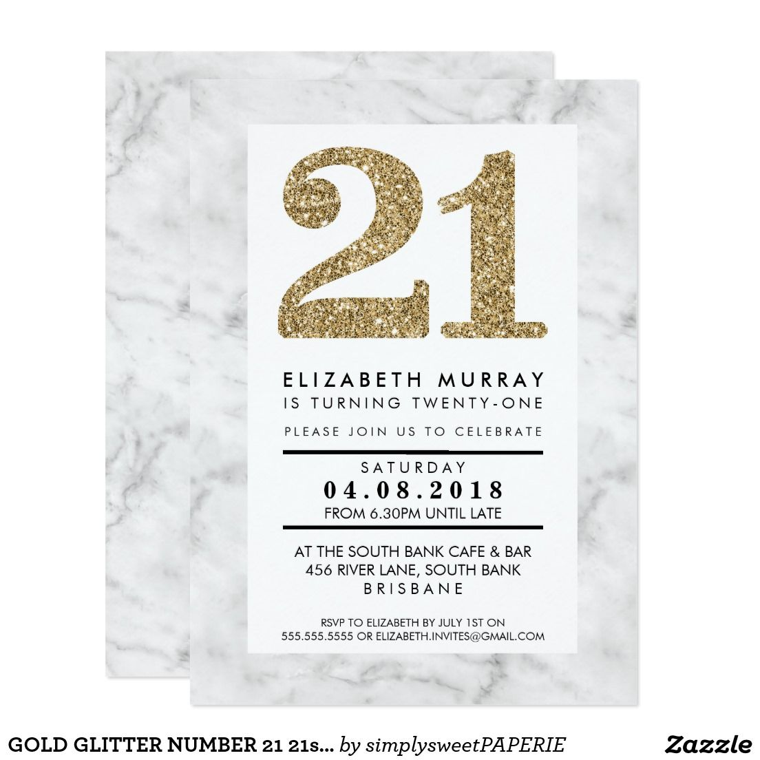 GOLD GLITTER NUMBER 21 21st INVITE simple marble | Birthday Party ...