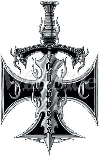 Choppers Iron Cross With Sword 11293 Biker Tshirt Transfers