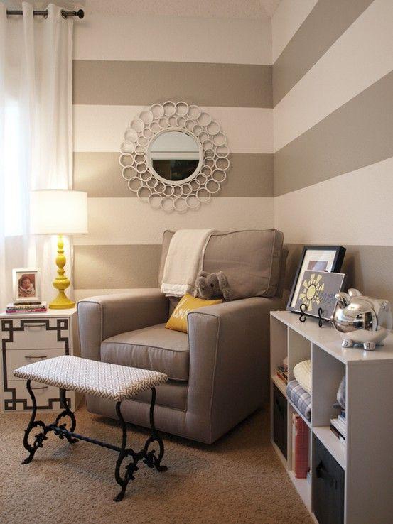 Kinderzimmer wandgestaltung mädchen streifen  graue-Streifen-an-der-Wand-babyzimmer | Räume | Pinterest | Graue ...