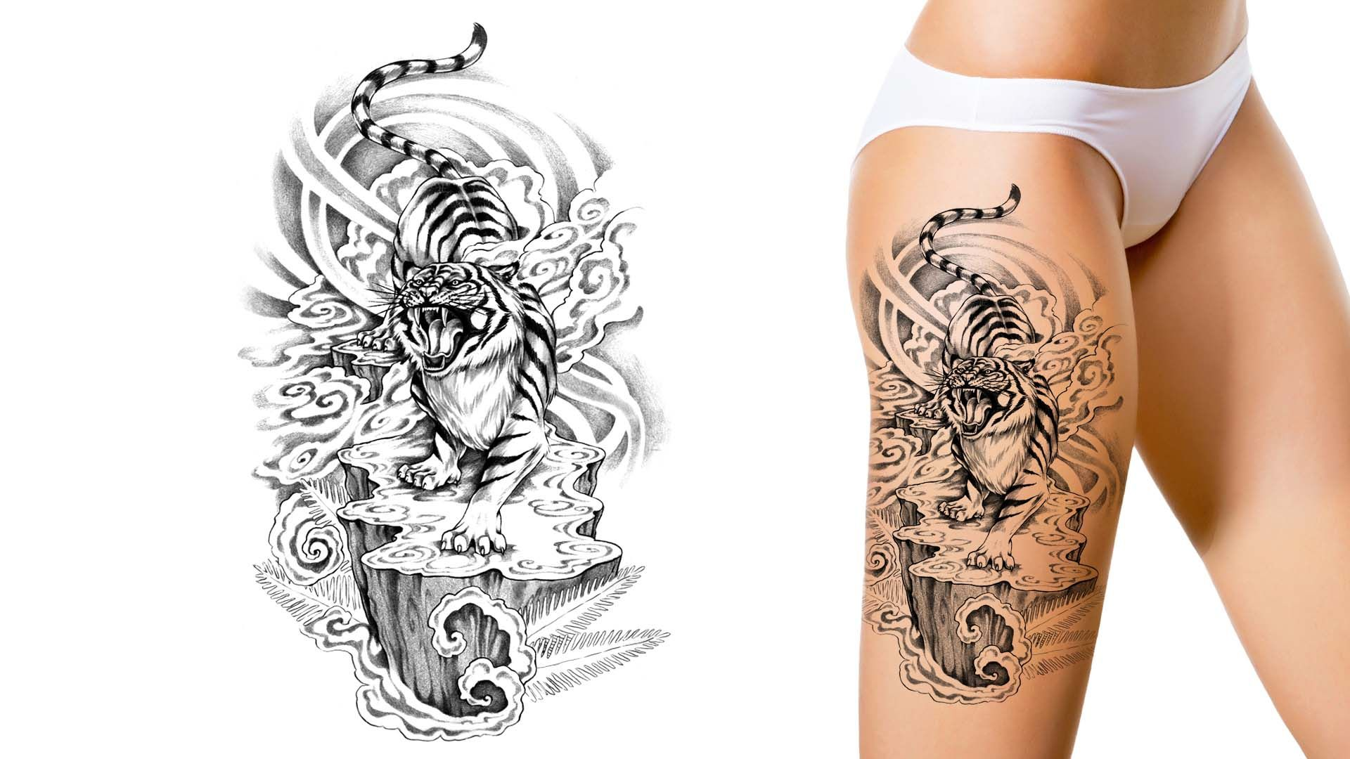 tiger tattoo you dream it we draw it get started on your custom tattoo design today. Black Bedroom Furniture Sets. Home Design Ideas