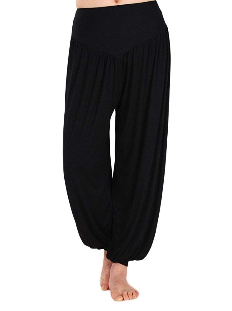 Womens Modal Cotton Soft Yoga Sports Dance Harem Pants - Black - CF11VKIDCYJ - Sports & Fitness Clot...