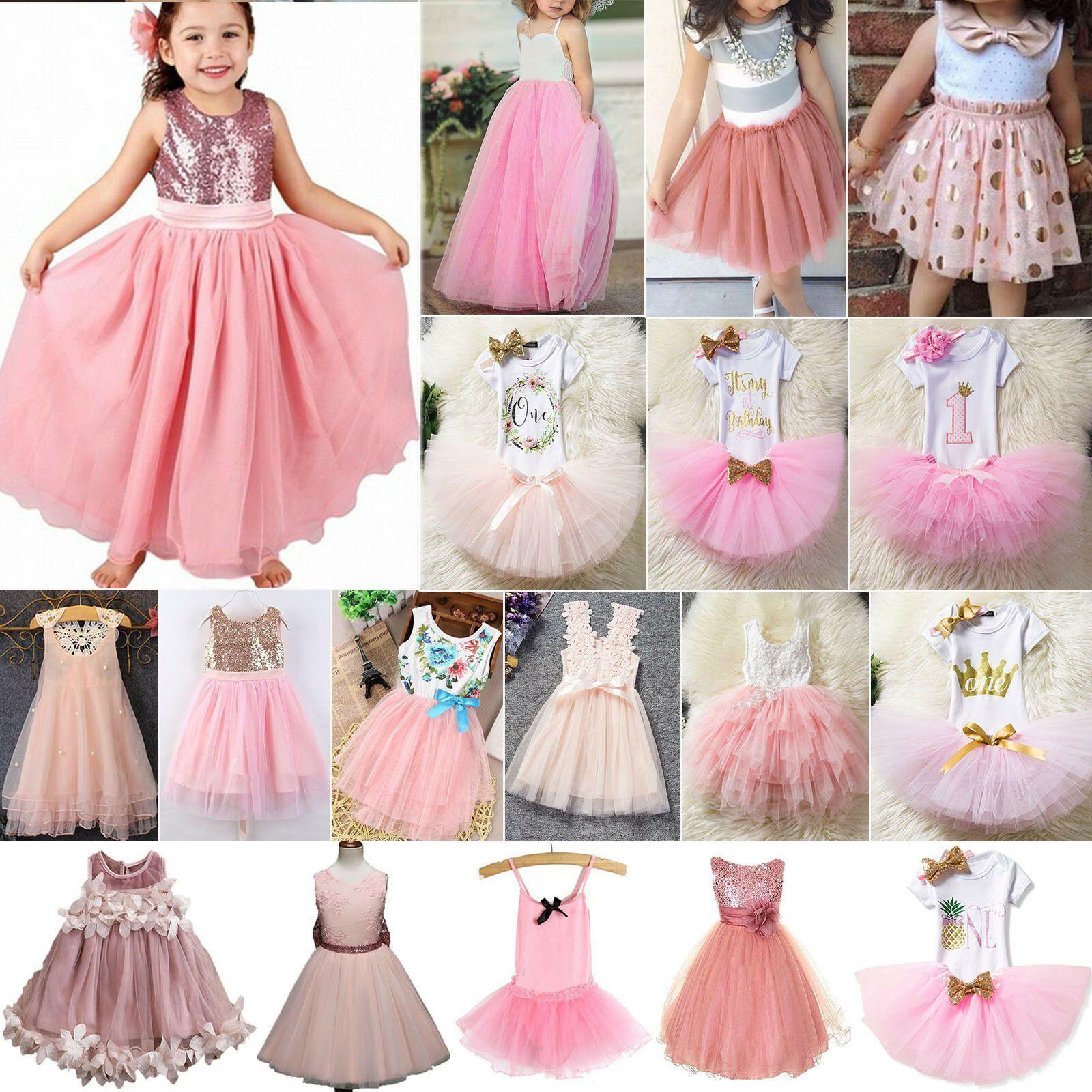 Kinder Mädchen Prinzessin Partykleid Tüll Tutu Kleider Hochzeit