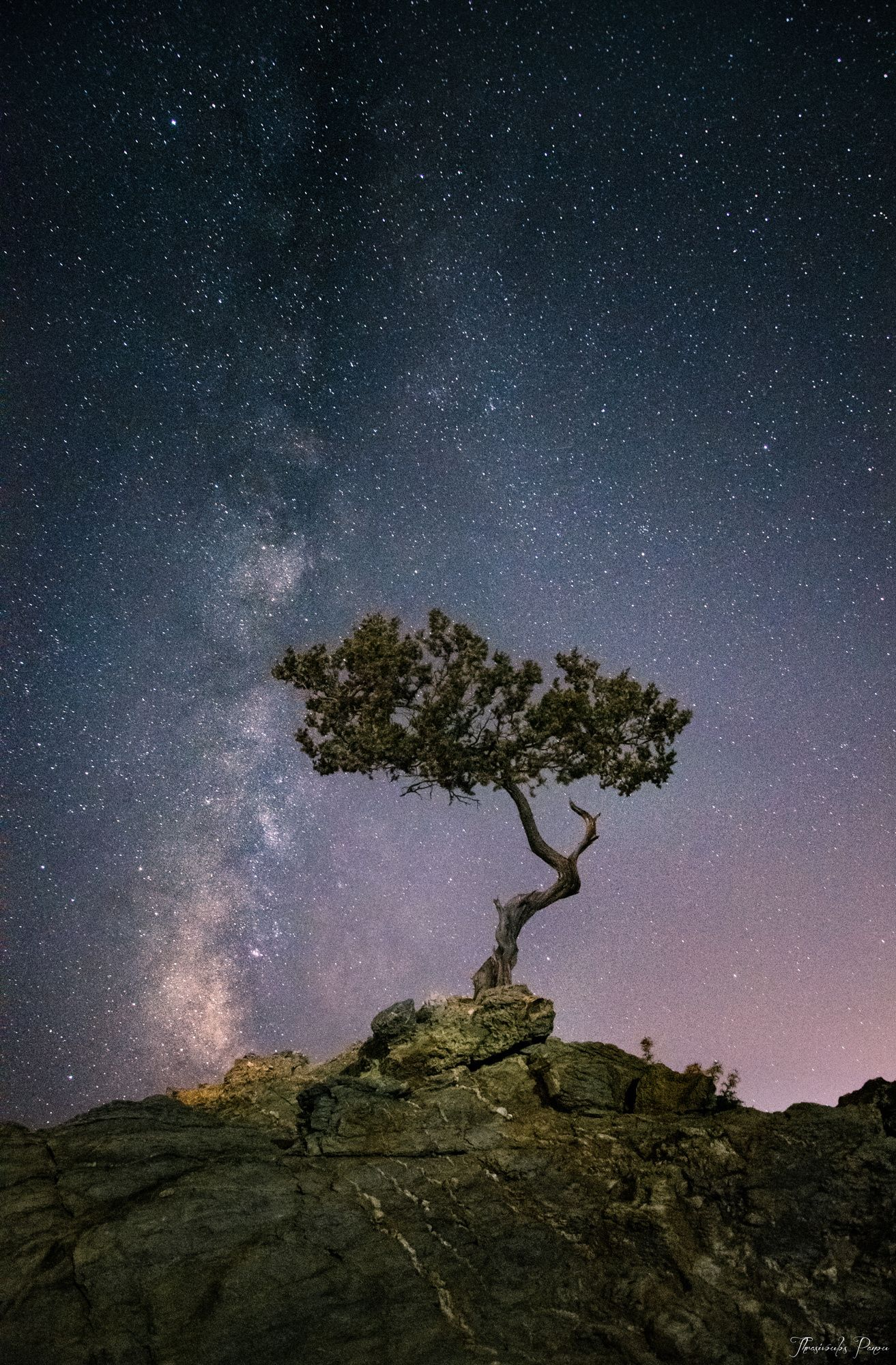 Vertical | Milky Way and a lone tree | by Thrasivoulos Panou~~ | Sky ...