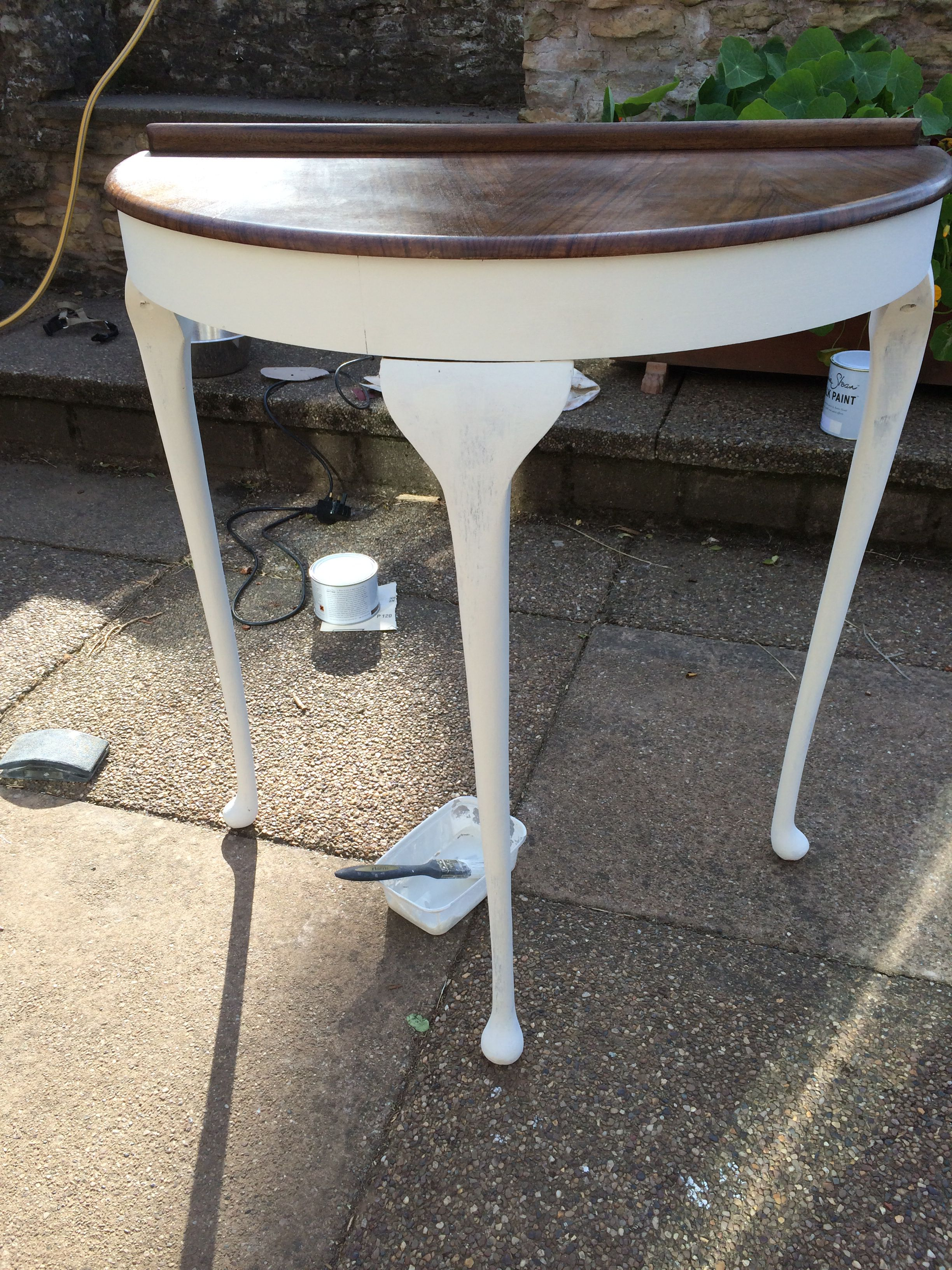 Half Moon Vintage Hallway Table Sanded Down And Painted With Old