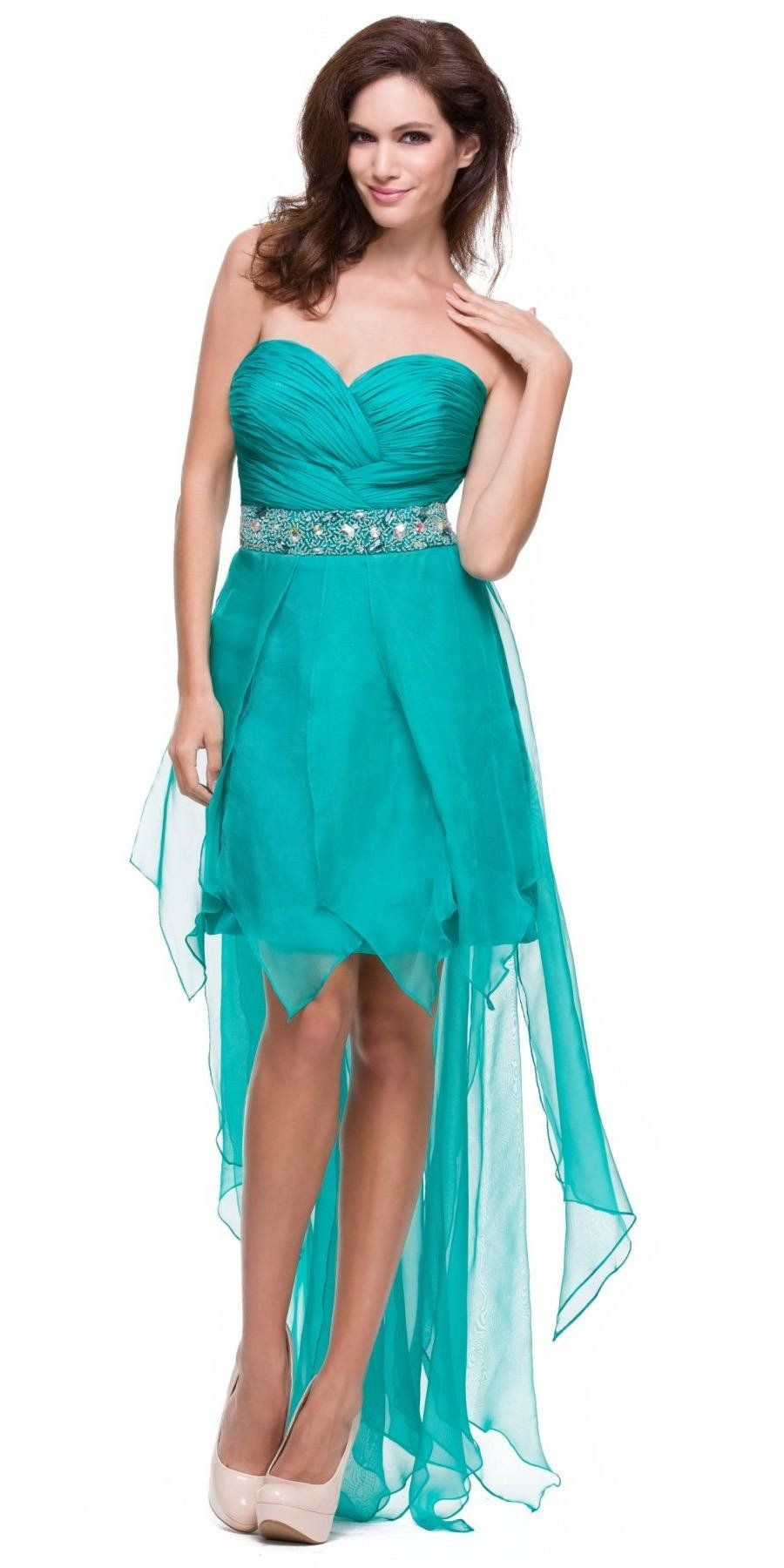 Green lace up dress  Fuchsia High Low Dress Prom Lace Up Back Strapless Bead Waist  Products