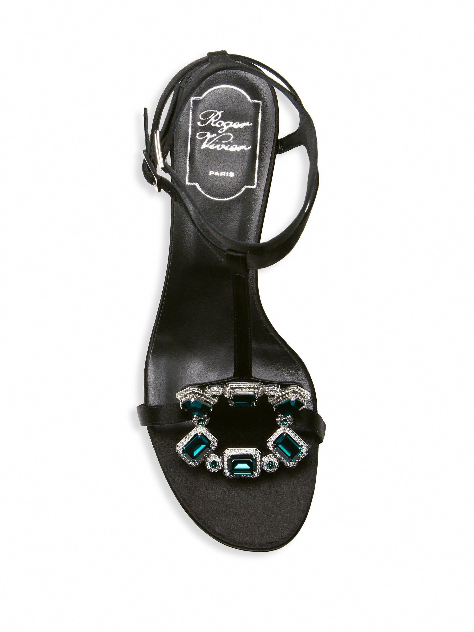 523f388c666869 Roger Vivier Premium Crown Jewels Sandals - Black 37.5 (7.5)  RogerVivier