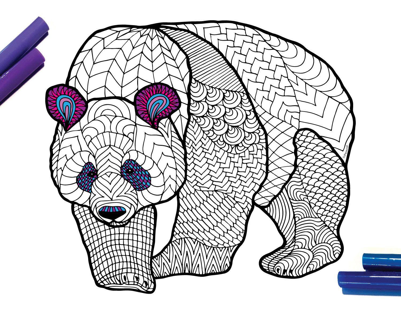 Giant Panda Endangered Animal Pdf Zentangle Coloring Page