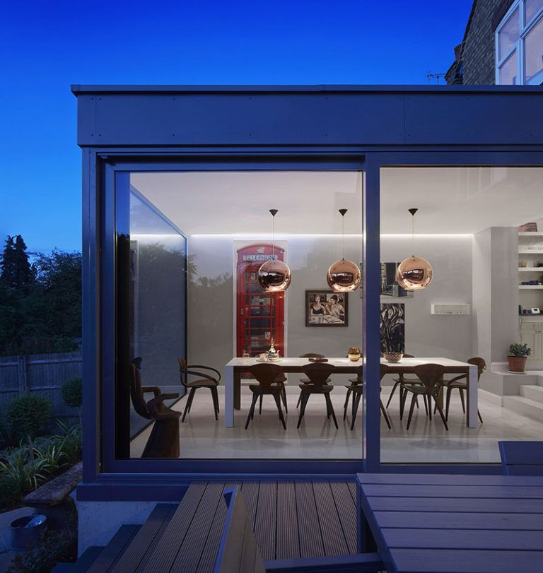 A Glass Enclosed Extension Created A Dining Room With Views For This Home House Extensions London House Edwardian House