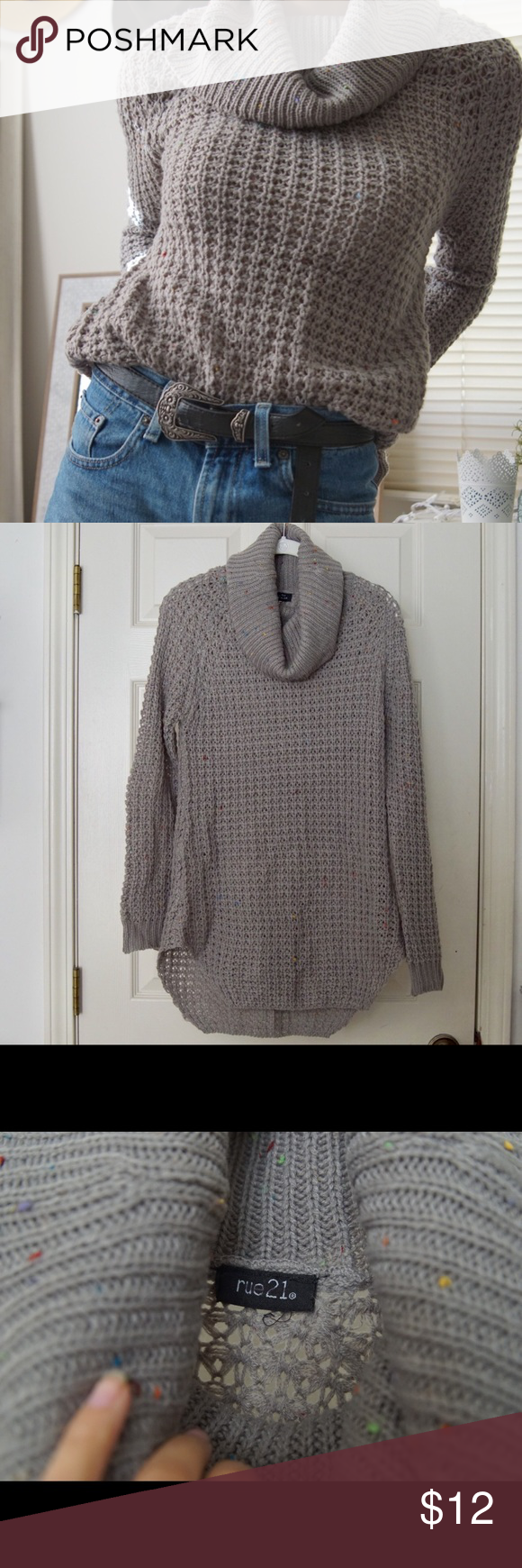 ca053367f0 Rue 21 Gray with multi color speckle Sweater Rue 21 Gray with multi color speckle  Sweater GREAT CONDITION Perfect for fall time and the holidays!