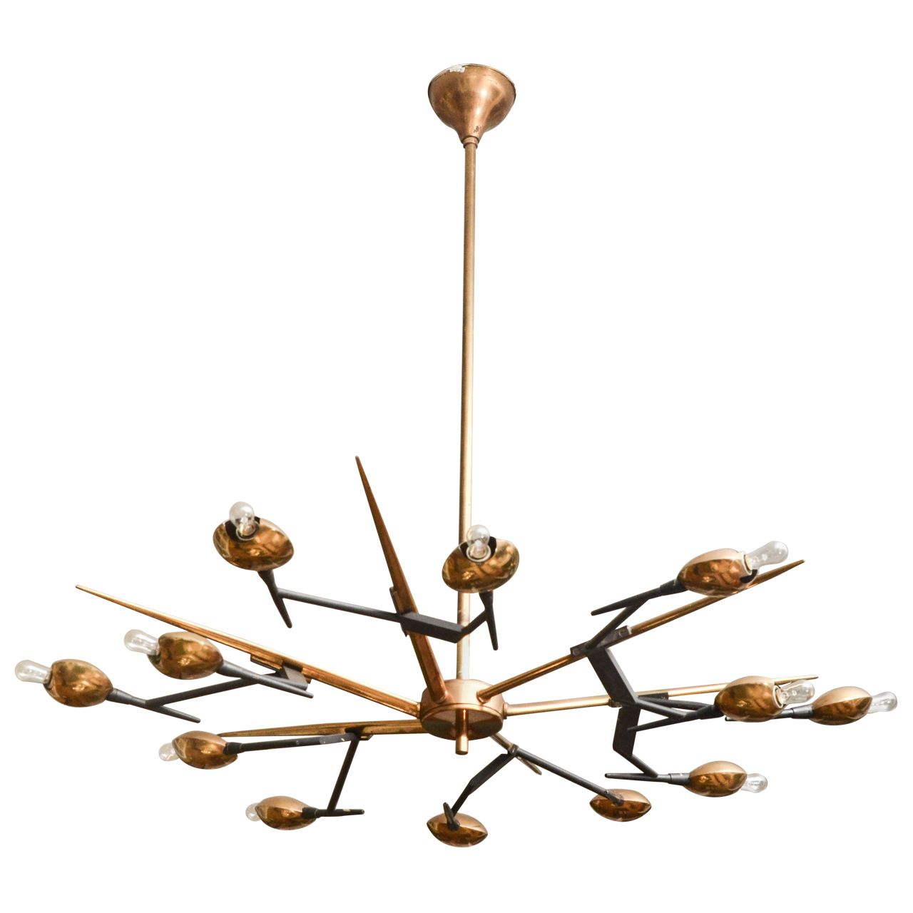 1960s italian brass and black metal chandelier by oscar torlasco 1960s italian chandelier by oscar torlasco from a unique collection of antique and modern chandeliers aloadofball Images