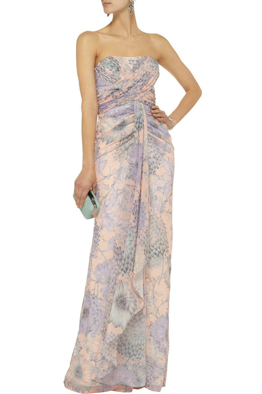 Badgley MischkaFloral-print chiffon gownfront