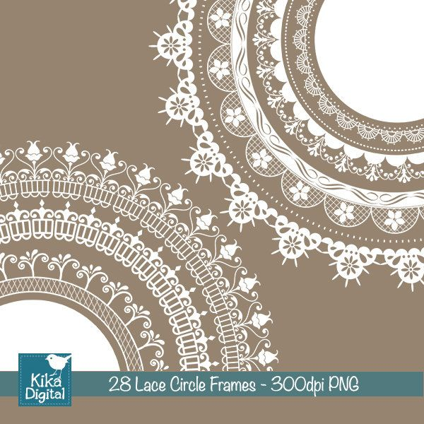 INSTANT DOWNLOAD Lace Circle Frames - Digital Clipart / Scrapbooking - card design, invitations, paper crafts, web design. $4.50, via Etsy.