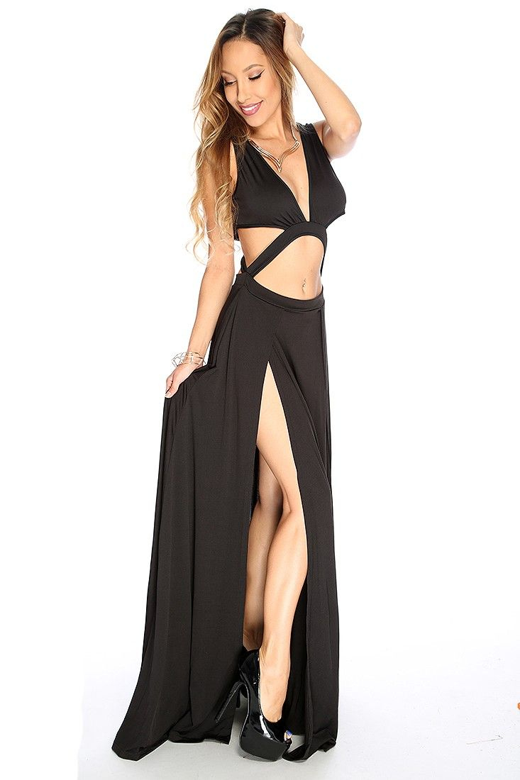 89822a0ad2 Black Cut Out Double Thigh High Slit Maxi Prom Dress