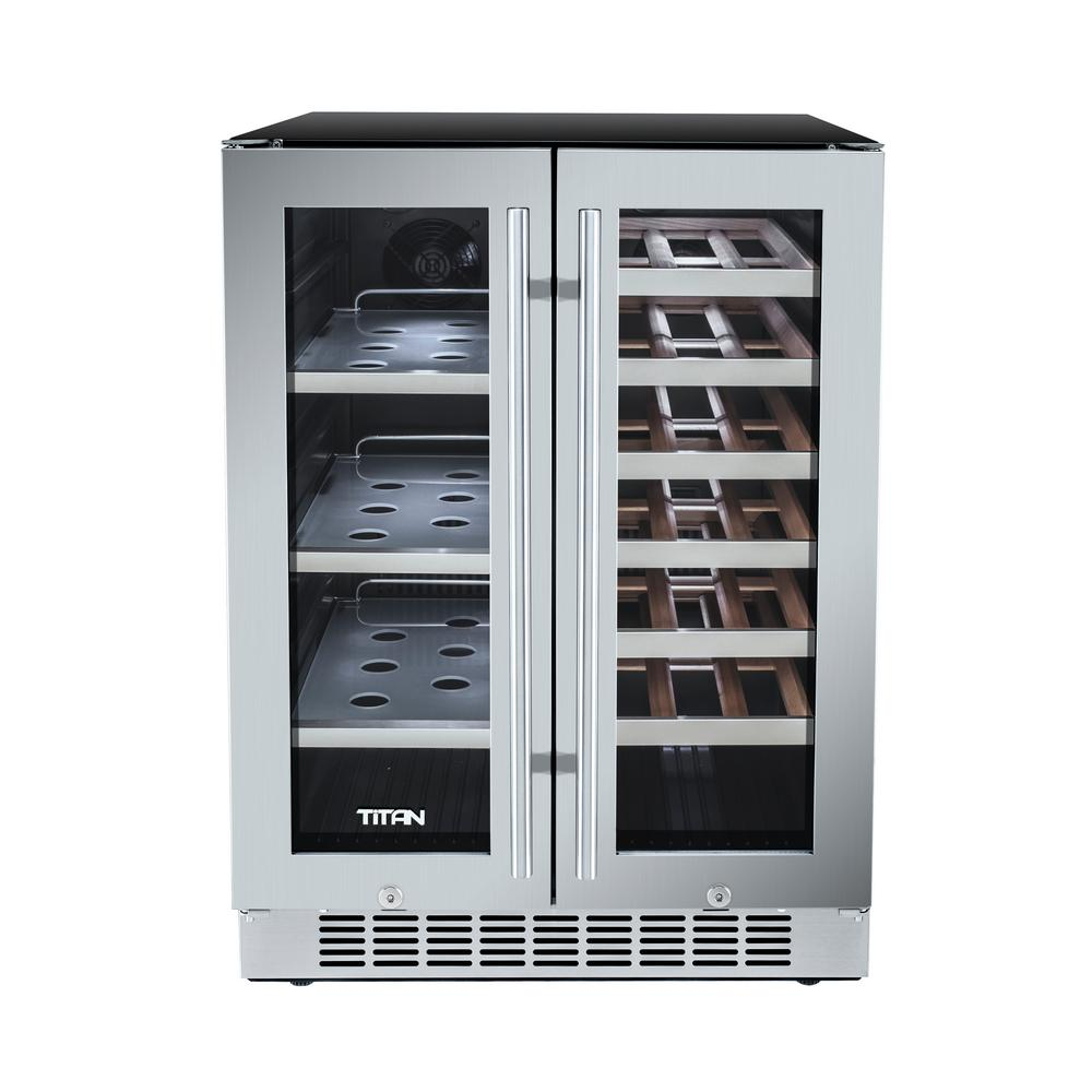 Titan 23 8 In 21 Bottle Wine And 60 Can French Door Seamless Stainless Steel Dual Zone Built In Beverage Cooler Tt Cbwc6021dz Built In Wine Cooler Built In Wine Refrigerator Built In Beverage Cooler
