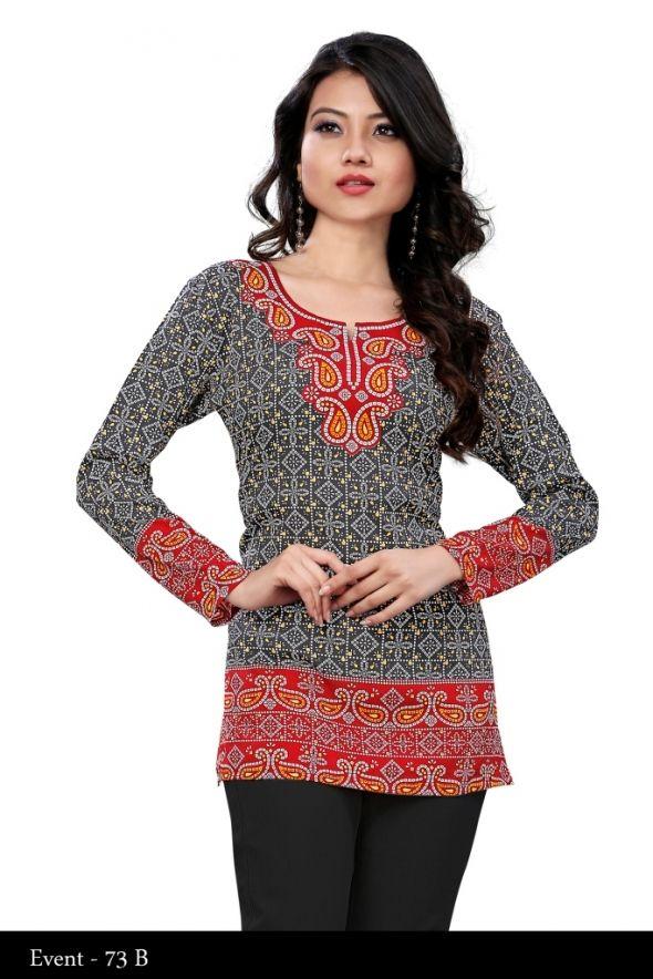 Red and Black Crepe Printed Indian Traditional Kurti - Crepe Kurtis / Tunics Manufacturer & Exporter | Kurtisindia