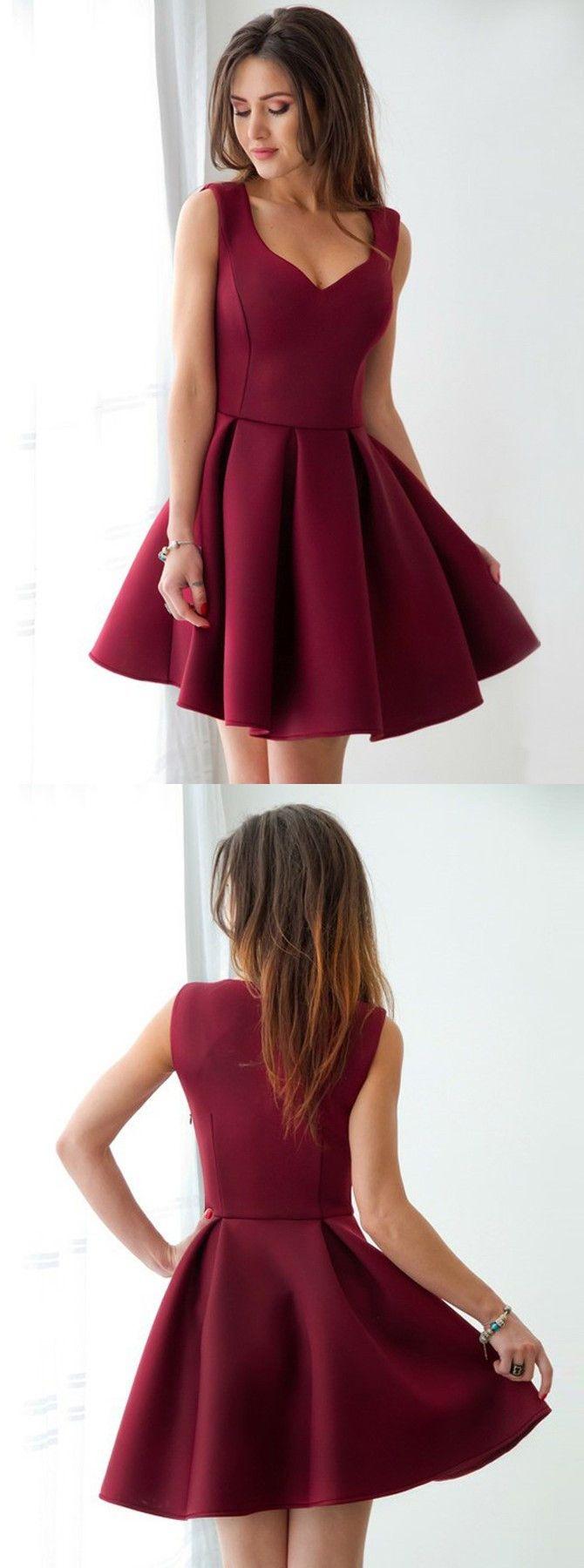 Aline scoop short pleated dark red satin homecoming dress dress