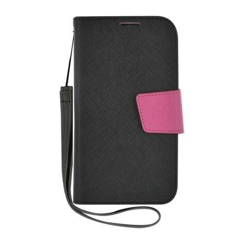 BLUEWAY Etui rabat noir et rose pour Samsung Galaxy S4 I9500