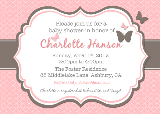 Pink Brown Butterfly Quatrefoil Invitation Invitations Showers