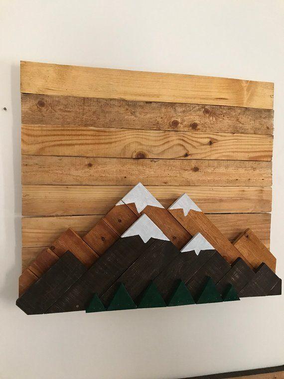 Mountain Reclaimed Wood Wall 3D Art #reclaimedwoodwallart