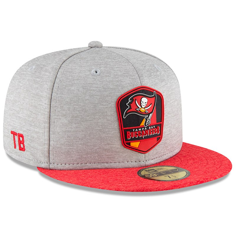 Tampa Bay Buccaneers New Era 2018 NFL Sideline Road Official 59FIFTY Fitted  Hat – Heather Gray Red b5df7e937cd2