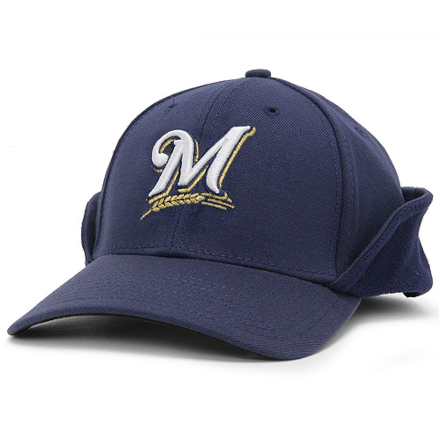 super popular abccc f0582 New Era Milwaukee Brewers Navy Blue 39THIRTY Down Flap Authentic On-Field  Stretch Fit Hat, Sale   22.99 - You Save   9.00