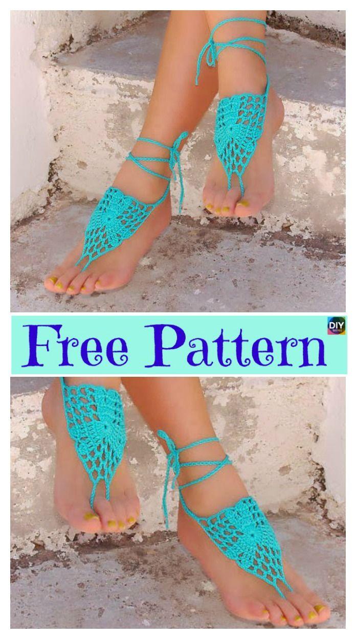 10 Most Unique Crochet Barefoot Sandals – Free Patterns