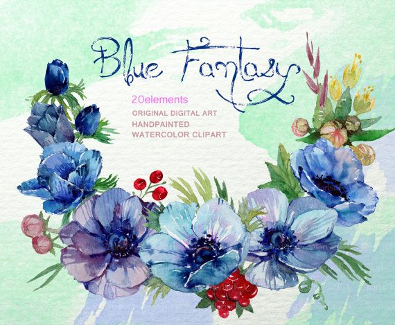 Blue Anemone Clip Art Rustic Floral Clipart Watercolor Hand Drawn Flowers