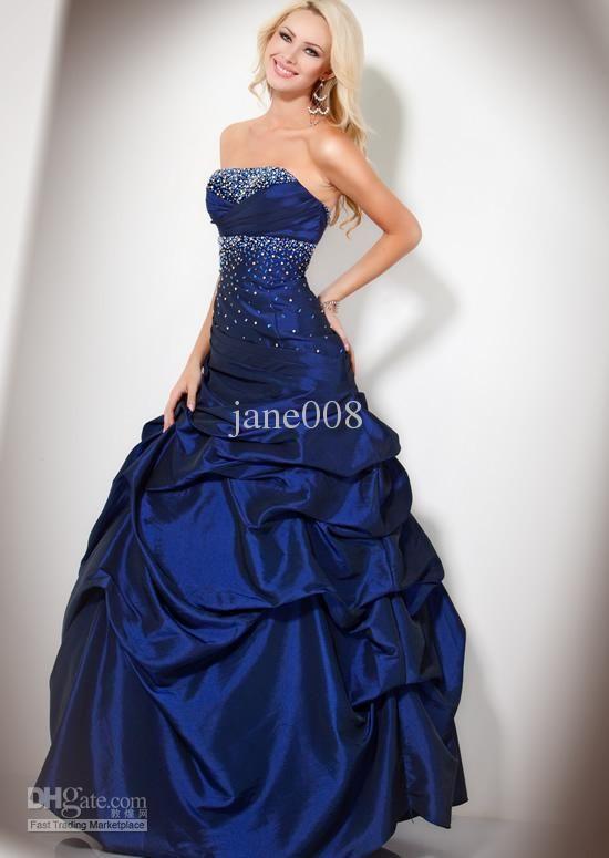 A Line Floor Length Prom Dresses Blue Hot Pink Black White Green