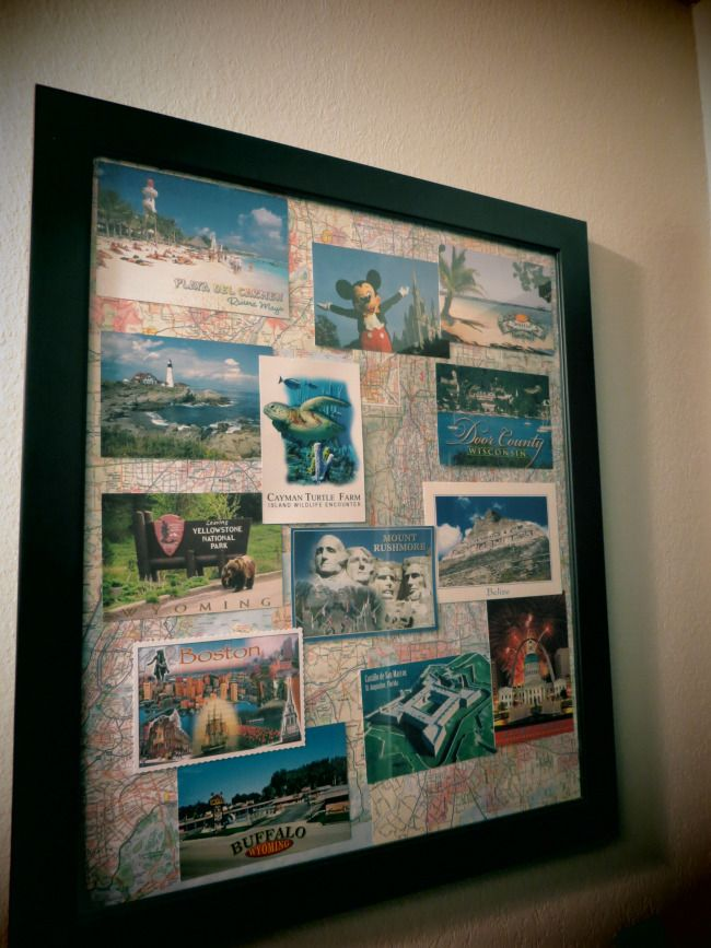 DIY, craft postcard travel photo frame. Perfect because I collect postcards in my travels!