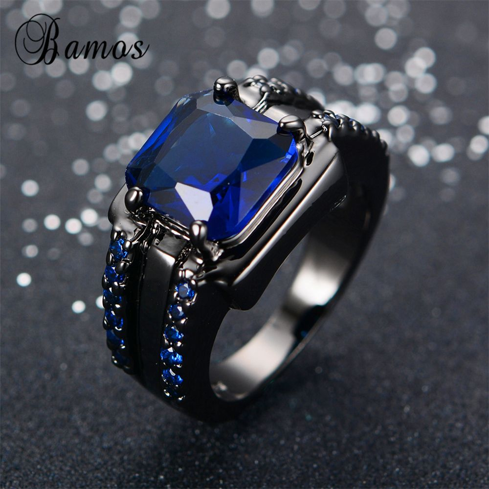 Swirl pattern white gold wedding ring for brides fashion fill - Bamos Male Blue Oval Ring High Quality Fashion Black Gold Filled Jewelry Vintage Wedding Rings For