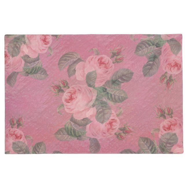 Pink Vintage Roses Old Fashioned Floormat Doormat #zazzlemade #roses #pink #vintage #raspberry #Doormat#botanical #gifts #gardenstyle #flowers #vintage #floral