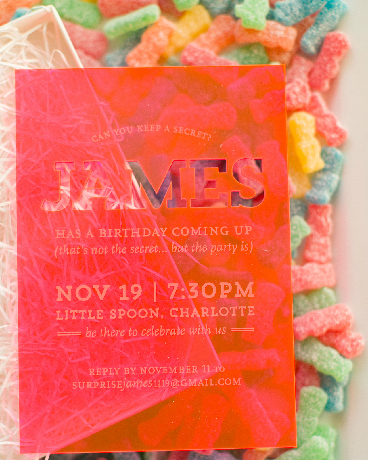 Neon Acrylic Birthday Party Invitations by Atheneum Creative ...