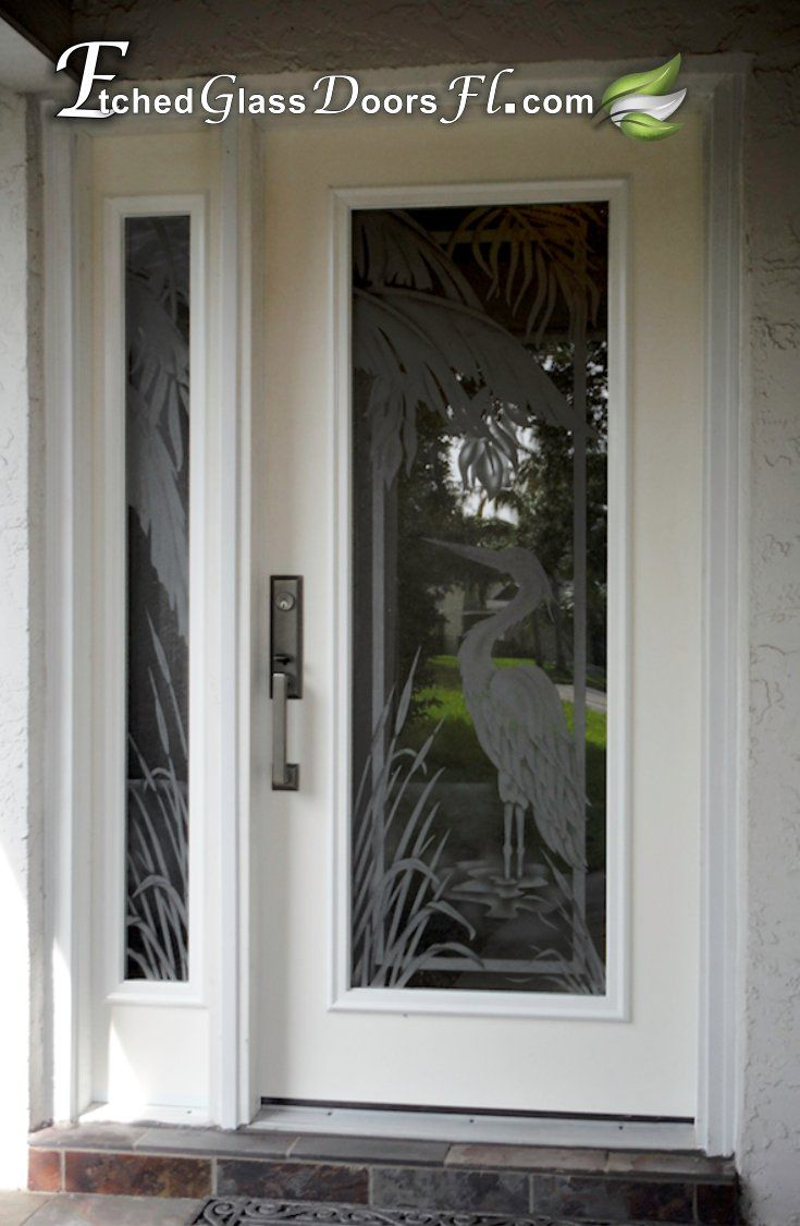 Hurricane Rated Impact Gl Door Inserts With Etched Egrets And Palm Leafs For A