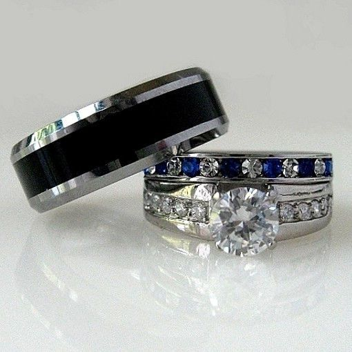3pcs TITANIUM STAINLESS STEEL Blue Sapphire CZ His Hers WEDDING BAND RING SET Sakony