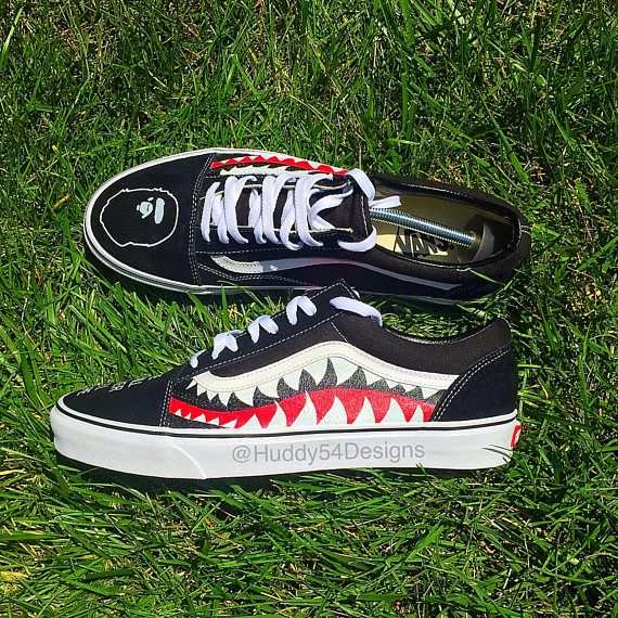 5f9718de8d4 Shark Teeth Bape Vans in 2019