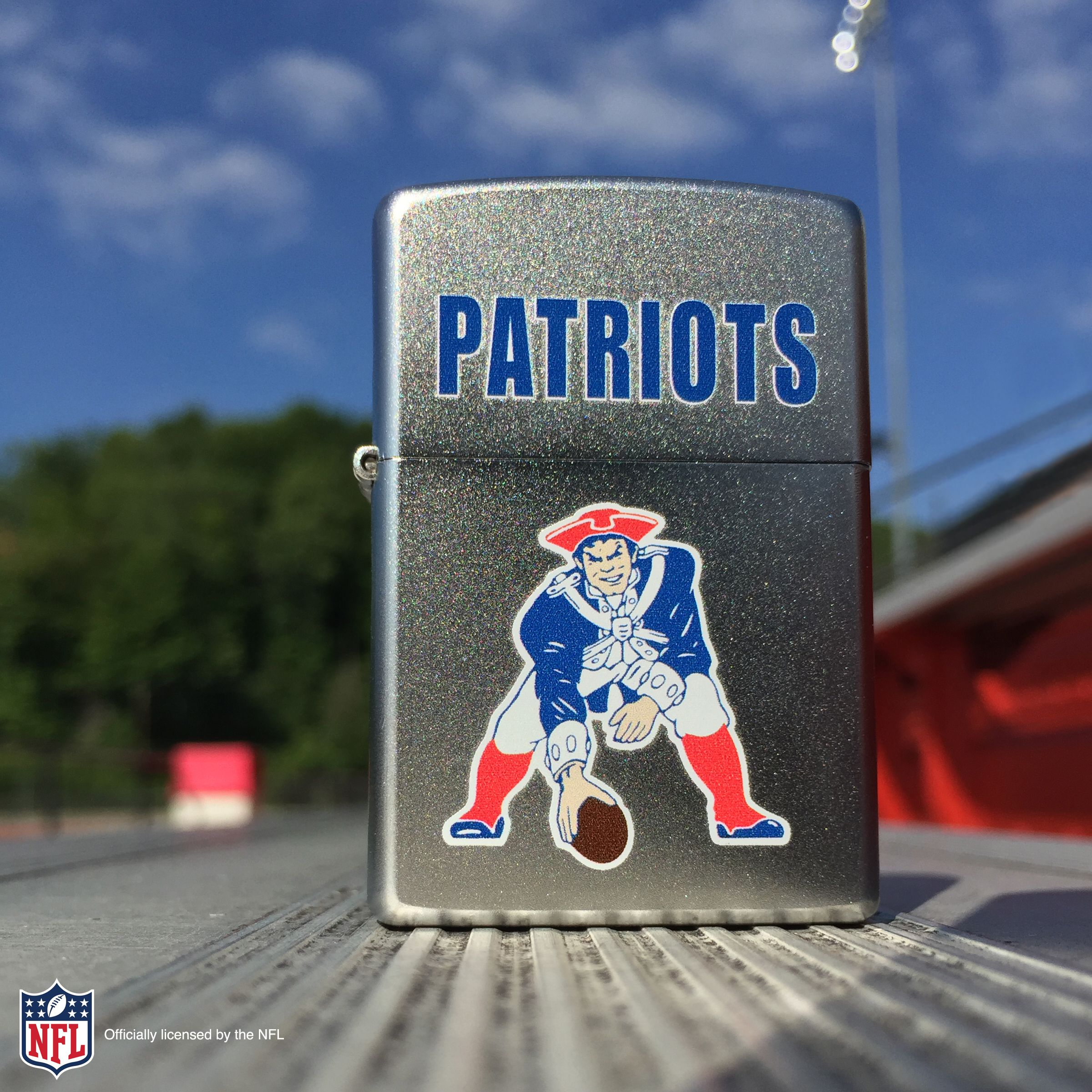 The New England Patriots Are Tied For The Most Appearances In The Super Bowl This Retro Design Features The Former Logo And Is Color Imaged On A Satin Chrome W