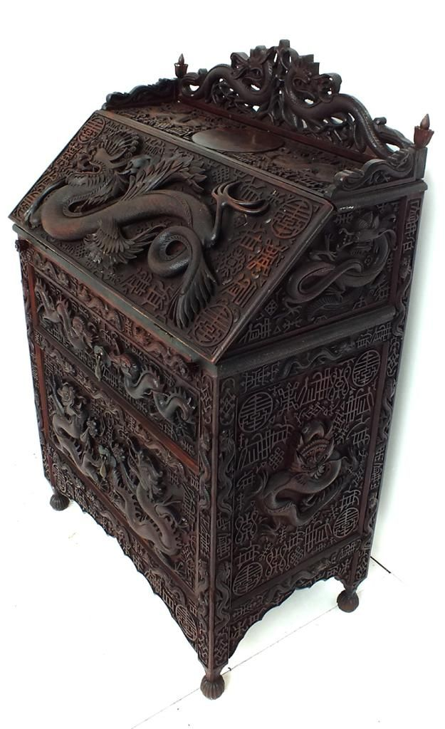 Victorian Carved Chinese Dragon Bureau Antique Bog Oak Burmese Writing Desk 1835 On Ebay
