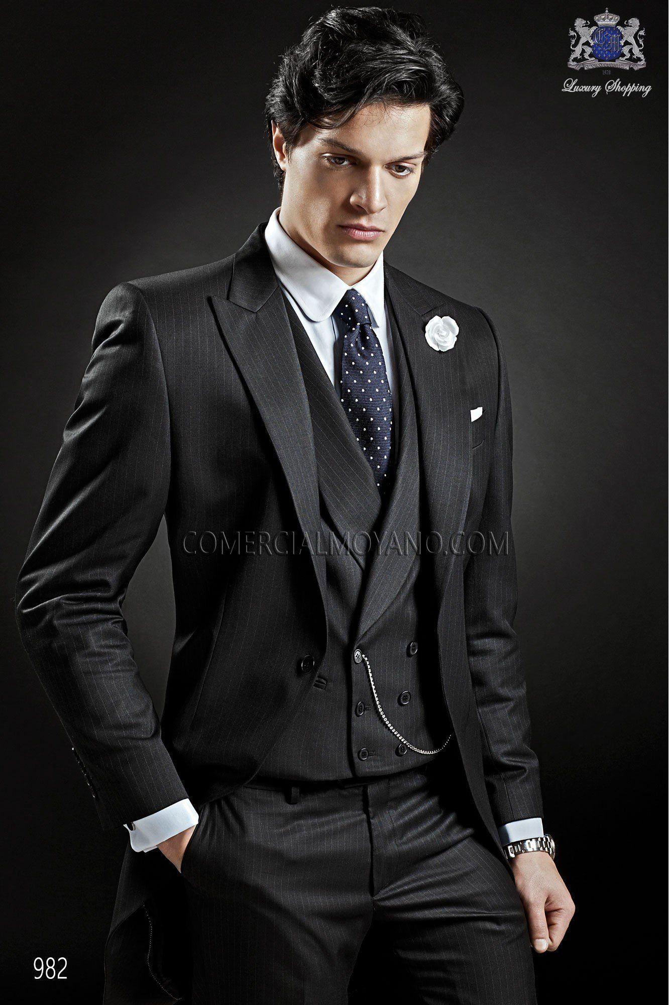 Italian bespoke wedding morning suit, in new performance black ...