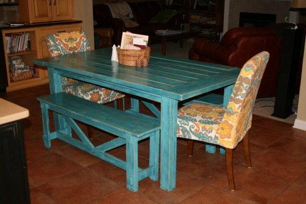 Tuscan Turquoise Farm Table and Rustic Benches | Do It Yourself Home Projects from Ana White