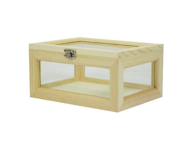 Woodline Works Large Wooden Box With Side Glasses Small Wooden Boxes Wooden Boxes Large Wooden Box