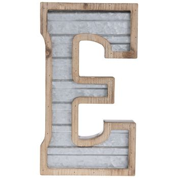 Galvanized Metal Letter Wall Decor E In 2020 Metal Wall