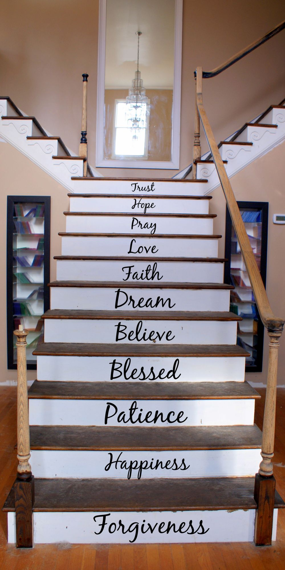 Cursive Inspirational Words Home Stairs Design Stairs Design Stair Renovation