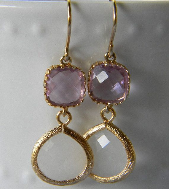 White Opal and Lavender Trimmed in Gold Earrings by Greenperidot, $24.50