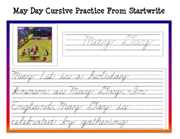 FREE Printable May Day Cursive Handwriting Practice – Improve Handwriting Worksheets