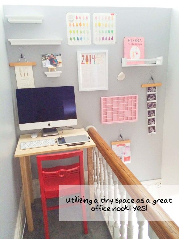 a teeny tiny desk nook utilizing the awkward space at the top of rh pinterest com