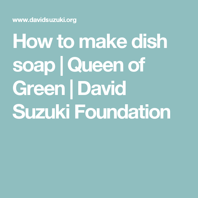 How To Make Dish Soap Queen Of Green David Suzuki Foundation How To Make The Balm Cleaner Recipes